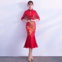 鱼尾敬酒服旗袍冬季2018新款红色中长款新娘中国风结婚礼服长袖女