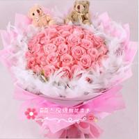 大连鲜花速递 情人节生日鲜花店 粉玫瑰33朵羽毛款爱情鲜花 预定