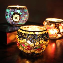 2只包邮马赛克玻璃烛台欧式复古摆件礼品烂漫酒吧蜡烛杯家居饰品