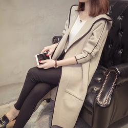 连帽针织衫女开衫中长款长袖厚毛衣外套2018春季韩版宽松时尚大衣