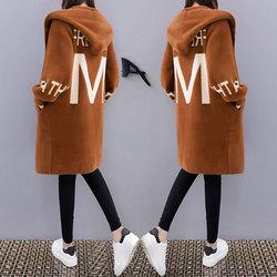 韩版2017秋装新款女装中长款显瘦加厚连帽毛针织衫开衫外套毛衣潮