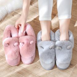 棉拖鞋女秋冬季情侣家居可爱厚底保暖室内包跟韩版月子鞋毛毛拖鞋
