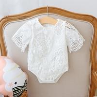 新生的儿宝宝衣服6-12个月女婴儿百天周岁蕾丝包屁哈衣夏季连体衣
