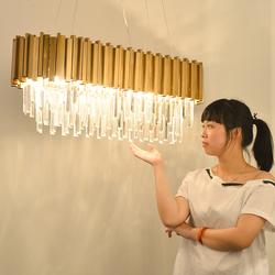 餐厅吊灯后现代金属不锈钢椭圆形K9水晶灯居家样板房轻奢吧台吊灯