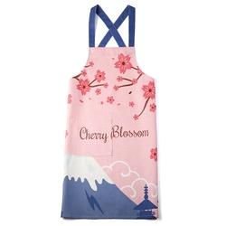 印花简约涤麻情侣无袖布艺家居厨房烘焙围裙男女日本樱花日式创意