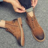 马丁靴男英伦风高帮鞋短靴韩版学生靴子冬季加绒工装雪地靴大黄靴