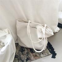 韩国新款大容量极简风字母单肩帆布包简约手提女包纯色托特包大包