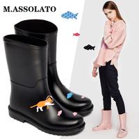 M+夏季韩国时尚可爱防水鞋套鞋防滑雨靴中筒水鞋胶鞋成人雨鞋女