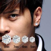 罗志祥明星同款耳钉男 韩国潮人学生简约日韩单只925纯银钻石耳饰