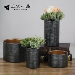 设计师推荐 样板房高端手工黑扫银金属不锈钢圆筒花器花瓶摆件