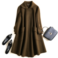 A版双面羊绒大衣2017秋冬新款中长款斗篷毛呢外套女纯手工双面呢