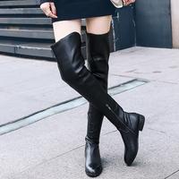 平底超长过膝长靴圆头低跟真皮骑士靴牛皮显瘦大腿靴定做筒高筒围