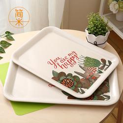 家用动物托盘长方形北欧创意客厅水杯茶盘塑料欧式水果盘餐盘