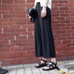 JHXC 韩版高腰宽松黑色雪纺阔腿裤女夏季薄款直筒休闲裤九分裤潮