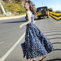 沙滩裙海边度假巴厘岛海滩裙夏季雪纺吊带碎花连衣裙波西米亚长裙