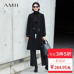 3件5折Amii ulzzang帅气羊毛呢子大衣韩版2017冬宽松长袖长款外套