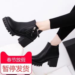 夏梵哲2017秋冬女靴子靴子欧美英伦短靴高跟鞋粗跟防滑女鞋马丁靴