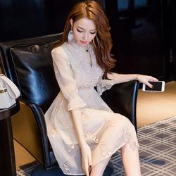 2018夏装新款女装韩版ins超火的慵懒风裙子夏季气质v领雪纺连衣裙