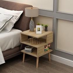 北欧简约现代组装卧室迷你床头柜简易床边柜小茶几40宽实木高脚款