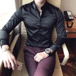 冬装加绒熟男雅痞高档绒休闲商务英伦刺绣加厚衬衣男修身长袖衬衫