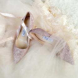 新娘鞋婚鞋金粉色亮片浅口高跟鞋细跟尖头伴娘鞋中高跟宴会单鞋女