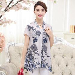 中年女式韩版棉绸上衣40-50岁妈妈立领宽松休闲短袖衫中长款夏