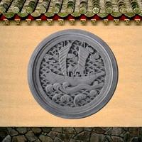 龙荼砖雕 仿古砖雕浮雕四合院影壁照壁墙挂壁心圆形扬帆远航70CM