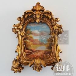 40*30迷你巴洛克法式奢华金色小油画木板画风景秋景美式挂画墙面