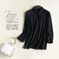 外贸折扣刺绣黑色衬衫女长袖质感轻薄上衣棉质翻领修身休闲衣服