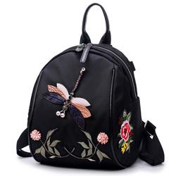 花间蜜语2018夏新款花朵刺绣双肩包手工水钻蜻蜓单肩背包休闲时尚