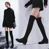 不掉筒!中跟过膝靴子女2018新款秋季长筒靴显瘦瘦靴小辣椒高筒靴