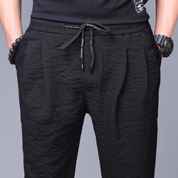 男裤子夏季男士超薄冰丝宽松小脚薄款运动透气韩版潮流夏天休闲裤