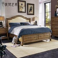 优梵艺术Taylor美式风格实木脚双人床储物简约布艺软包主卧室家具