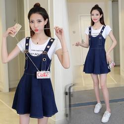 12少女孩13韩版14初高中学生15吊带17岁夏装中大童牛仔背带连衣裙