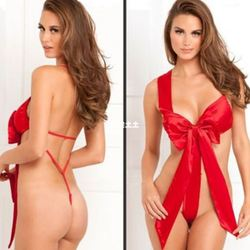 Lady Christmas Babydoll Underwear Naughty Knot Body Bow Sex