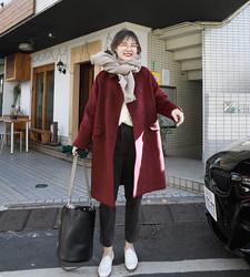 花栗鼠小姐 酒红色呢子大衣女秋冬中长款小个子chic羊毛毛呢外套