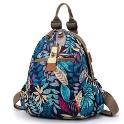 韩版印花牛津布双肩包女2018新款帆布女士背包多用包大容量旅行包
