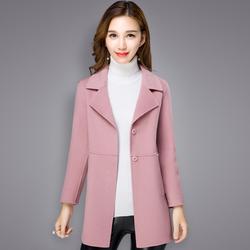 2017新款秋冬双面呢厚大衣韩版短款小个子修身羊毛呢子纯色外套女