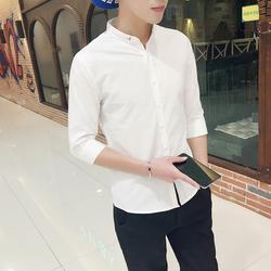 夏季衬衫男士短袖青少年韩版修身潮流立领7分衬衣纯白色休闲中袖