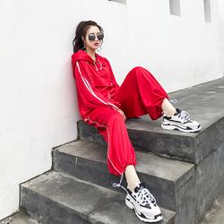 春装2018新款女韩版时尚潮流社会港风萝卜裤时髦两件套装减龄春季