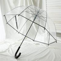 沛欣透明伞女 公主风拱形伞小清新弯柄伞纯色雨伞抗风英伦长柄伞