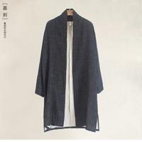 原创中式休闲风衣男式中国风棉麻外套中长款大码宽松道袍秋冬新款