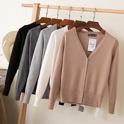 外搭宽松早秋女装新款2017针织衫开衫短款薄款春秋天毛衣长袖外套