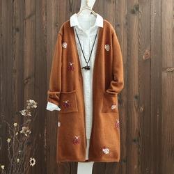 文艺刺绣V领宽松中长款针织开衫上衣女长袖2017秋季新款毛衣外套