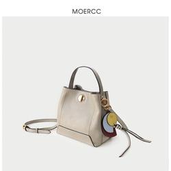 MOERCC休闲韩版水桶包牛皮女包流苏手提包新款斜挎小包时尚单肩包