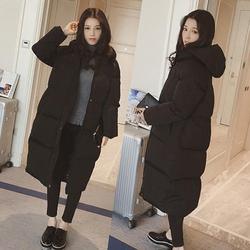 韩版过膝羽绒棉服冬季女装外套加厚棉袄学生面包服棉衣女中长款潮