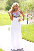 2017 summer ladies white long dresses print sling sexy dress