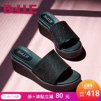 聚百丽拖鞋18夏新专柜同款亮线布坡跟厚底休闲女凉鞋BQS33BT8