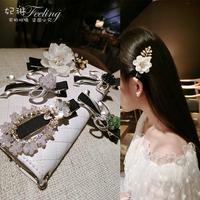 韩国发夹发饰珍珠蝴蝶结水钻一字夹刘海边夹成人发卡夹子女头饰品