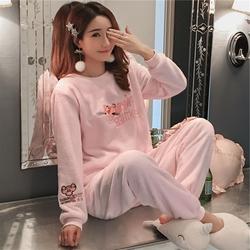 睡衣女冬珊瑚绒加厚保暖甜美可爱可外穿韩版清新学生法兰绒家居服